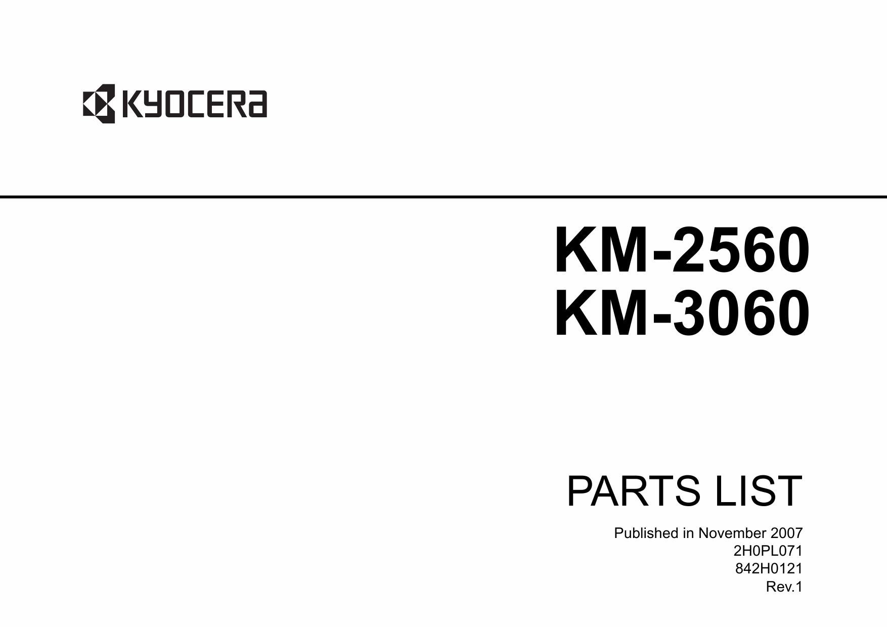 KYOCERA Copier KM-2560 3060 Parts Manual-1
